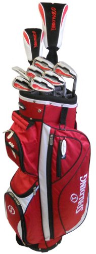 Spalding AF14 Mens Golf Club Set with Red Cart Bag (Right Hand-Steel)