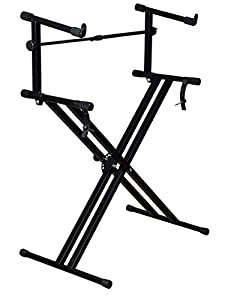 tms x style pro dual music keyboard stand electronic piano double 2 tier adjustable. Black Bedroom Furniture Sets. Home Design Ideas