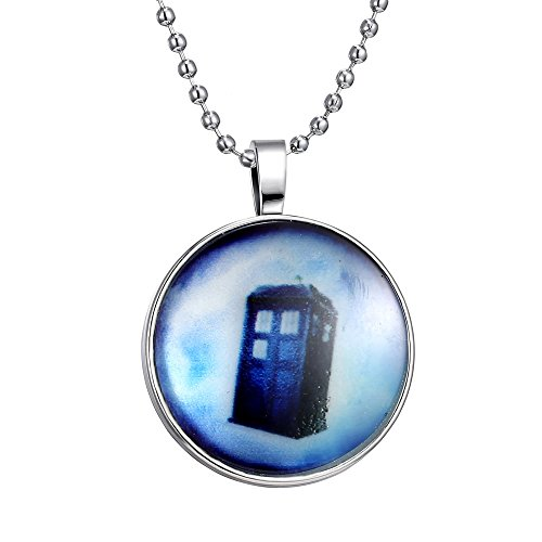 FM42 Glow in the Dark Telephone Booth Round Pendant Necklace, Glow Blue Light GN1104 by FM42