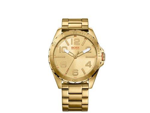 Boss  - Reloj de cuarzo para hombre, correa de acero inoxidable chapado color dorado