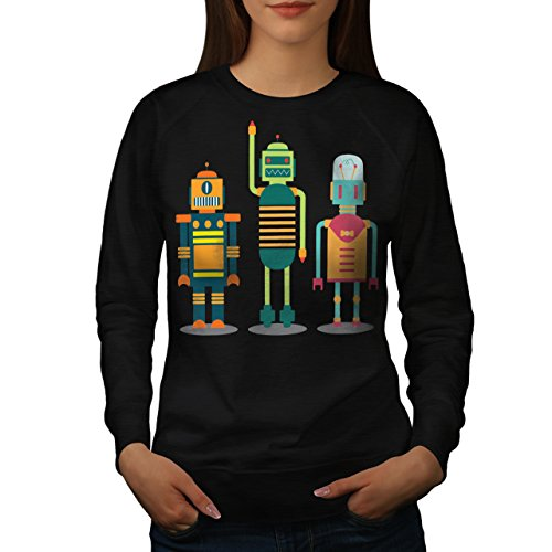 karikatur-roboter-party-kind-spass-damen-neu-schwarz-xxl-sweatshirt-wellcoda