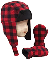 N\'ice Caps Baby Boys Buffalo Plaid Fleece Trooper Hat and Mitten Set (Toddler (2-3 Years))