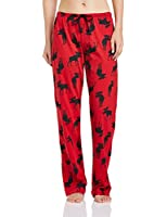 """Hatley """"Moose on Red"""" Women's 100% Cotton Jersey Pajama Pants"""