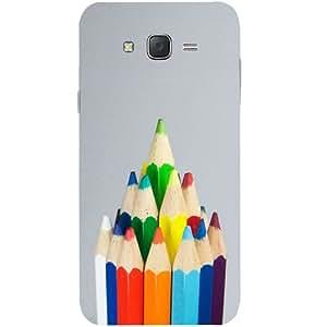 Casotec Pencil Design Hard Back Case Cover for Samsung Galaxy J2
