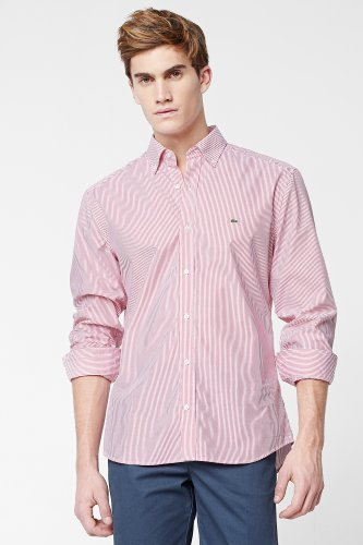 City Long Sleeve Button Down Slim Fit Classic Stripe Shirt