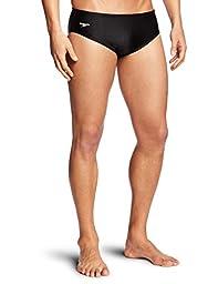Speedo Men\'s Solid Lycra Brief Swimsuit, Black, 30