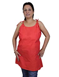 Spaghetti Strap Tank Tops Kurti For Women In Tomato Red Handloom Woven Cotton