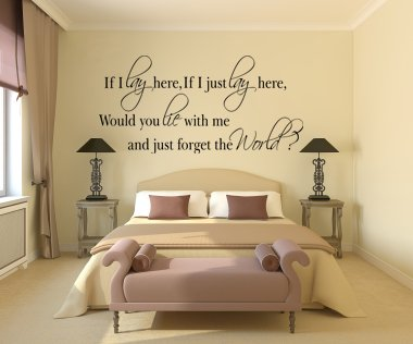 Decorative Wall Art Sticker If I Lay Here Would You Lie With Me? 3 Sizes 30 Colours (Black, Large)