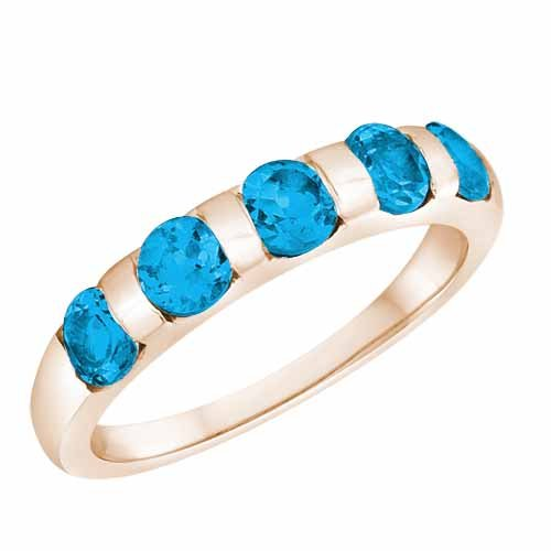 Ryan Jonathan Blue Topaz Five Stone Ring in 14K White Gold