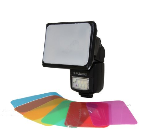 Polaroid Universal Gel Soft Box Diffuser (Includes Blue, Red, Green, Amber, Yellow & Pink Gels) For The Canon Digital Eos Rebel Sl1 (100D), T5I (700D), T4I (650D), T3 (1100D), T3I (600D), T1I (500D), T2I (550D), Xsi (450D), Xs (1000D), Xti (400D), Xt (350