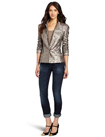 Helene Berman Women's Sequin Blazer, Silver, Medium