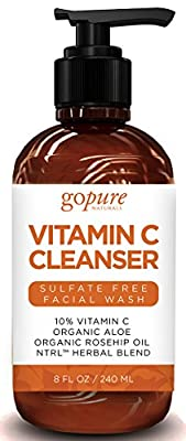 Best Cheap Deal for goPure Natural Face Wash - Anti Aging Cleanser with Vitamin C, Rosehip Oil, Organic Aloe Vera - Gentle, Sulfate Free Face Cleanser for Men and Women - 8 Oz by goPure Naturals - Free 2 Day Shipping Available