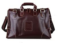 Polare Men's Vintage Classic Italy Leather Weekender Duffel Bag Luggage Tote