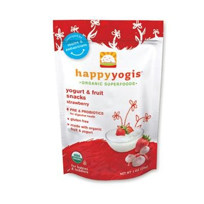 Happy Baby happyyogis Organic Superfoods Yogurt and Fruit Snacks Strawberry - 1 oz - Case of 8