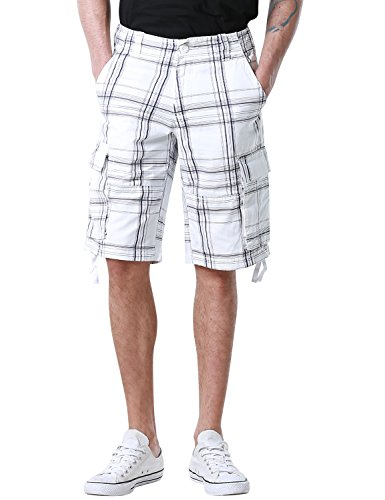 Match Men's Retro Camo Plaid Summer Polo Cargo Shorts (W38