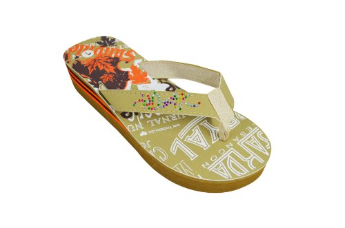 Women'S Tan Rhinestone Embellished Printed Wedge Flip Flop Sandals (2336-1) 10 M Us front-442613
