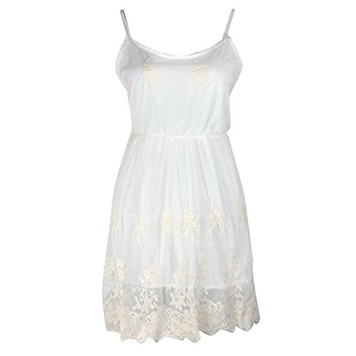 Aokdis Fashion White Sexy Summer Women Ladies Lace Mini Party Evening Dress (M)