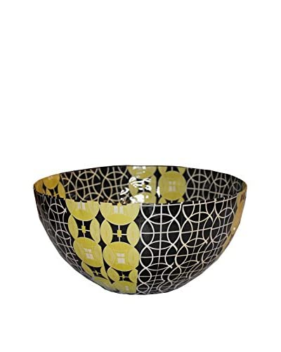 Asian Loft Handcrafted Swaziland Paper Mache Bowl, Yellow/Black/White