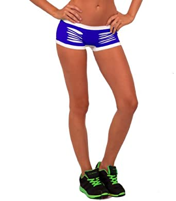 Hot Sexy Mini Contrasting Stretch Laser Cut Exercise Yoga Gym Fitness Shorts