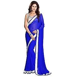 Shree Laxmi Creation Blue Silver Gota Saree