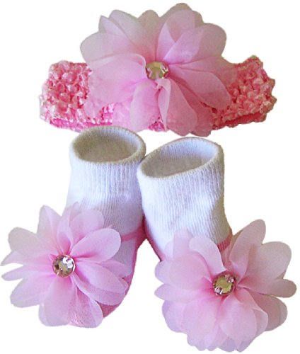 Vitamins Baby Baby Girls' Socks/Booties And Headband Set (Pink)