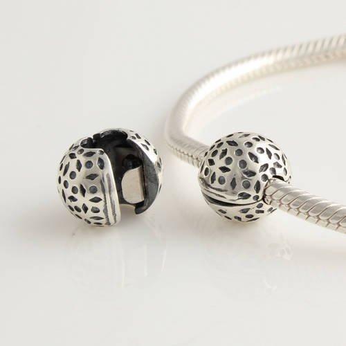 General Gifts - Ciondolo a clip in argento 925, stile Art Nouveau Lace, adatto per braccialetti Pandora, Biagi, Chamilia, Troll e molti altri