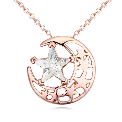 Gorgeous Jewelry Rose Gold Plated Bright Stars and Moon Combination White Swarovski Element Crystal Pendant Necklace (Luna Bars Mini compare prices)