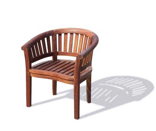 Teak Oiled Curved Banana Garden Chair, Outdoor Armchair