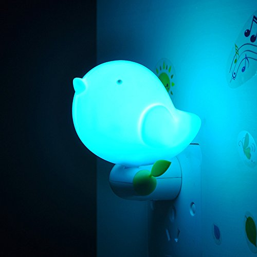 niceEshop(TM) Kids Bird Night Light with Sensor Plug in Wall Night Lamp for Children(Blue) (Portable Night Lights For Kids compare prices)