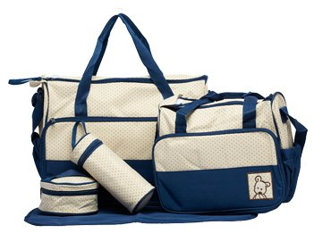 5pcs Baby Nappy Changing Bags Set In Dark Blue By Just4baby