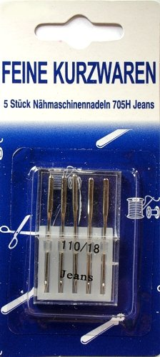 5 Nähmaschinennadeln Jeans Nr.110 Flachkolben 705H für Nähmaschine hu581