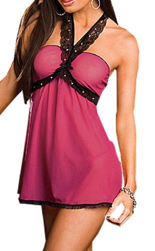 Wingler Fashion Lingerie Women's G-String Chiffen Sleepwear Dress Set A162-Hot Pink