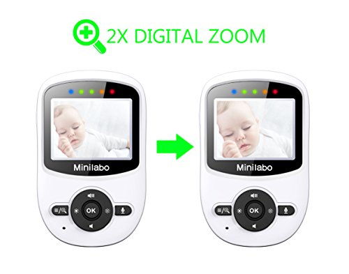 Video Baby Monitor, Minilabo Wireless Baby Camera Monitors 2.4inch Screen with Temperature Monitoring Night Vision,Two Way Talk and Long Range Features