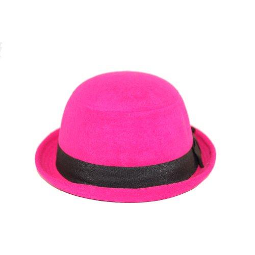 New Hot Pink Felt Bowler Derby Fedora Hat Black Ribbon S/M