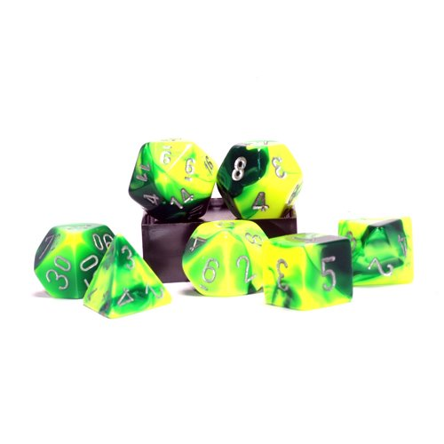 Polyhedral 7-Die Gemini Chessex Dice Set - Green and Yellow with Silver CHX-26454 - 1