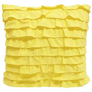 Yellow Ruffle Decorative Pillow : Amazon.com - Teen Vogue Sweet Floral Yellow Ruffle Square Pillow, 18 by 18-Inch - Throw Pillows