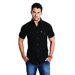 RODID Men's Cotton Solid Casual Shirt Black_RODSDPH-B-S