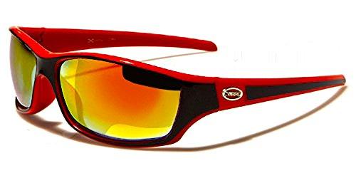 Xloop Sonnenbrillen - Radfahren - Skifahren - Laufen - Driving - Motorradfahrer - Mode - Fashion - Clubbing - Pilotenbrille / Mod. 5340 Rot Schwarz Diesel Spiegel / One Size Adult / 100% UV400 Schutz