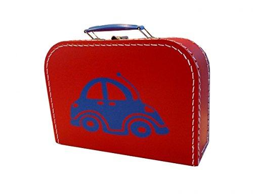 Valise en carton rouge avec voiture bleu 25 cm