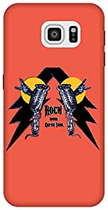 The Racoon Grip Rock on hard plastic printed back case / cover for Samsung Galaxy S6