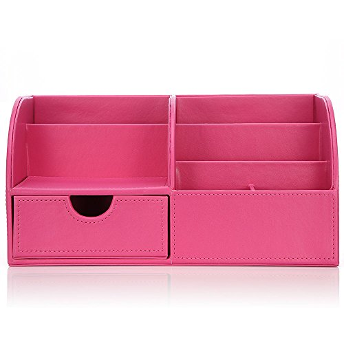 Richblue Multifunctional PU Leather Cover + Wooden Structure Makeup Case Vanity Box Desk Organizer Stationery Holder Caddy 8 Colors (Pink)