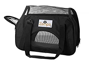 Zampa Soft-Sided Pet Carrier, Mesh Side Windows and Doors, 15 x 7.5 x 17 -Inch