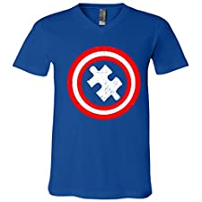 Captain Autism Distressed Shield V-Neck T-Shirt