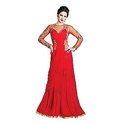 Resham Fabrics Red Swiss Georgette Semi Stitched Gown