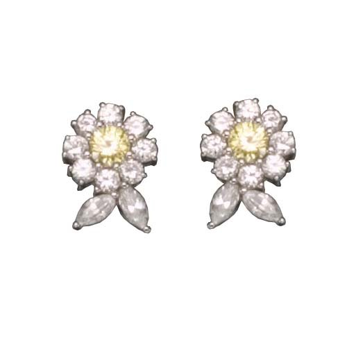 925 Sterling Silver Stud Earrings Rhodium Plated Yellow Citrine Flower CZ Diamond w/ omega backs - Incl. ClassicDiamondHouse Free Gift Box & Cleaning Cloth