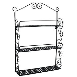 Classic Elegant Black Metal Wall Mounted Shelves Kitchen Spice Rack Bathroom Accessory... by MyGift