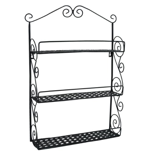 Classic Elegant Black Metal Wall Mounted Shelves Kitchen Spice Rack Bathroom Accessory Storage Muti Purpose Organizer