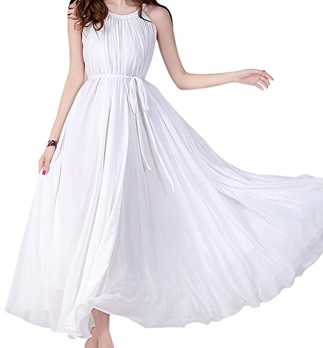 Vonfon Women'S Large Circle Maxi Long Chiffon Sun Beach Ball Dress White