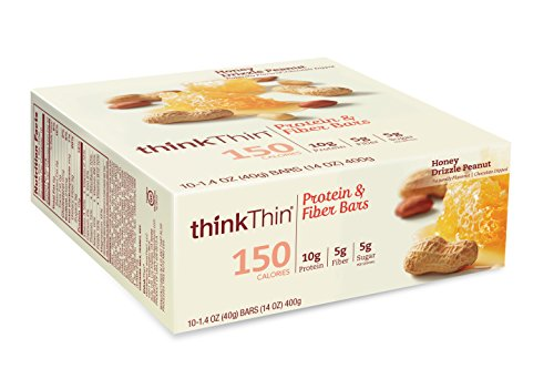 thinkThin Protein & Fiber Bars, Honey Drizzle Peanut, 1.41 Ounce (Pack of 10) (Honey Bar compare prices)