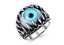 Asma stainless steel unique design blue eyeball finger ring (diameter 1.9 cms) for men